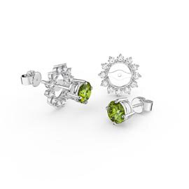 Charmisma 1ct Peridot Platinum Plated Silver Stud Earrings Starburst Halo Jacket Set