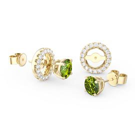 Charmisma 1ct Peridot 18ct Yellow Gold Vermeil Stud Earrings Halo Jacket Set