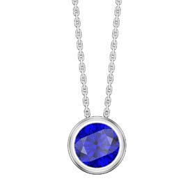 Infinity 1.0ct Sapphire Solitaire Platinum plated Silver Bezel Pendant