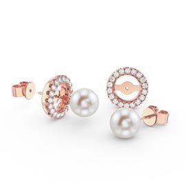 Fusion Pearl 18ct Rose Gold Vermeil Stud Earrings Halo Jacket Set