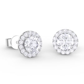 Eternity 1ct White Sapphire Halo Platinum plated Silver Stud Earrings
