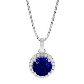 Eternity 0.5ct Sapphire Halo Platinum plated Silver Pendant