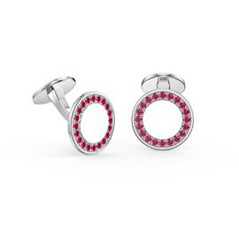 Signature Ruby Platinum plated Silver Round Cufflinks