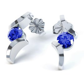 Combinations Blue Sapphire Round Rhodium plated Silver Earrings