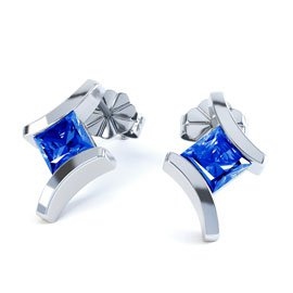 Combinations Blue Sapphire Square Rhodium plated Silver Earrings