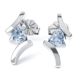 Combinations Aquamarine Heart Rhodium plated Silver Earrings