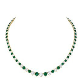 Eternity Emerald 18ct Gold Vermeil Tennis Necklace