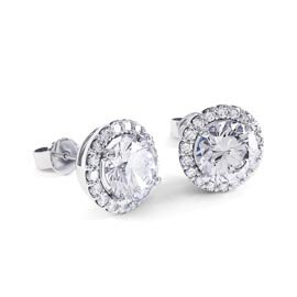 Eternity 2ct White Sapphire Halo Platinum plated Silver Stud Earrings
