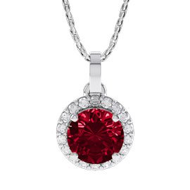 Eternity 1ct Ruby Halo Platinum plated Silver Pendant