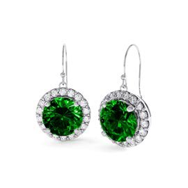 Eternity 2ct Emerald Halo Platinum plated Silver Drop Earrings