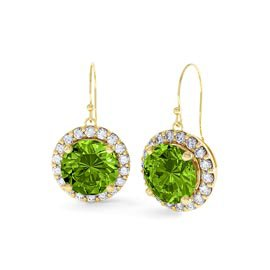 Halo 2ct Peridot Halo Drop 18ct Gold Vermeil Earrings