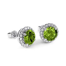 2ct Peridot Platinum plated Silver Halo Stud Earrings