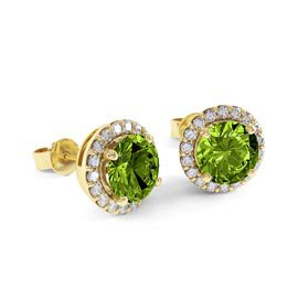 2ct Peridot 18ct Gold Vermeil Halo Stud Earrings