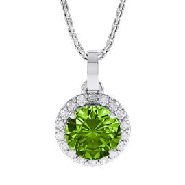 1ct Peridot Platinum plated Silver Halo Pendant