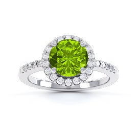 1ct Peridot Platinum plated Silver Halo Promise Ring
