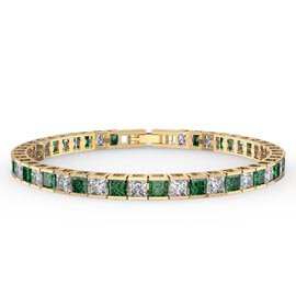 Princess Emerald 18ct Gold Vermeil Tennis Bracelet