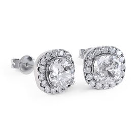 Princess 2ct White Sapphire Halo Platinum plated Silver Stud Earrings