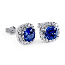 Princess 2ct Sapphire Halo Platinum plated Silver Stud Earrings