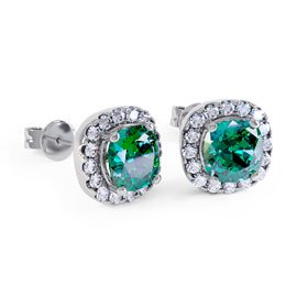 Princess 2ct Emerald Halo Platinum plated Silver Stud Earrings