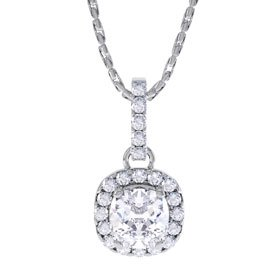 Princess 1ct White Sapphire Halo Platinum plated Silver Pendant