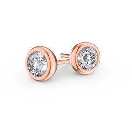 Infinity Moissanite 18ct Rose Gold Stud Earrings