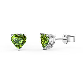 Charmisma 1ct Heart Peridot Platinum plated Silver Stud Earrings