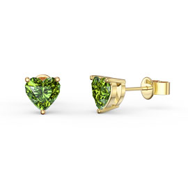 Charmisma 1ct Heart Peridot 18ct Gold Vermeil Stud Earrings
