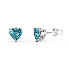Charmisma 1ct Heart Swiss Blue Topaz Platinum plated Silver Stud Earrings