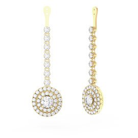 Fusion White Sapphire Halo 18ct Gold Vermeil Earring Drops