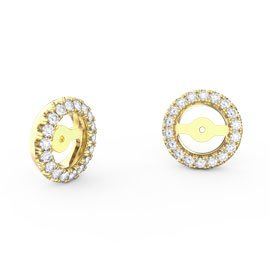 Fusion Moissanite 18ct Yellow Gold Earring Halo Jackets