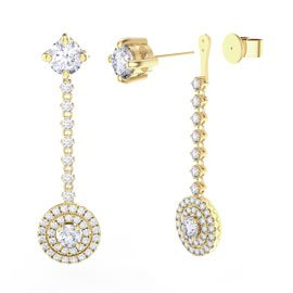 Fusion Moissanite Halo 18ct Yellow Gold  Stud Drop Earrings Set
