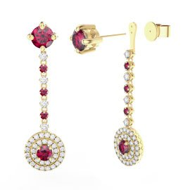 Fusion Ruby 18ct Yellow Gold Halo Stud Drop Earrings Set