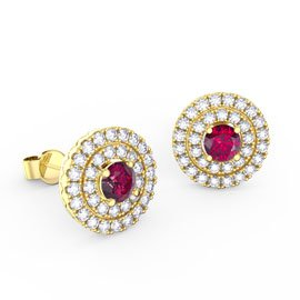 Fusion Ruby and Diamond Halo 18ct Yellow Gold Stud Earrings