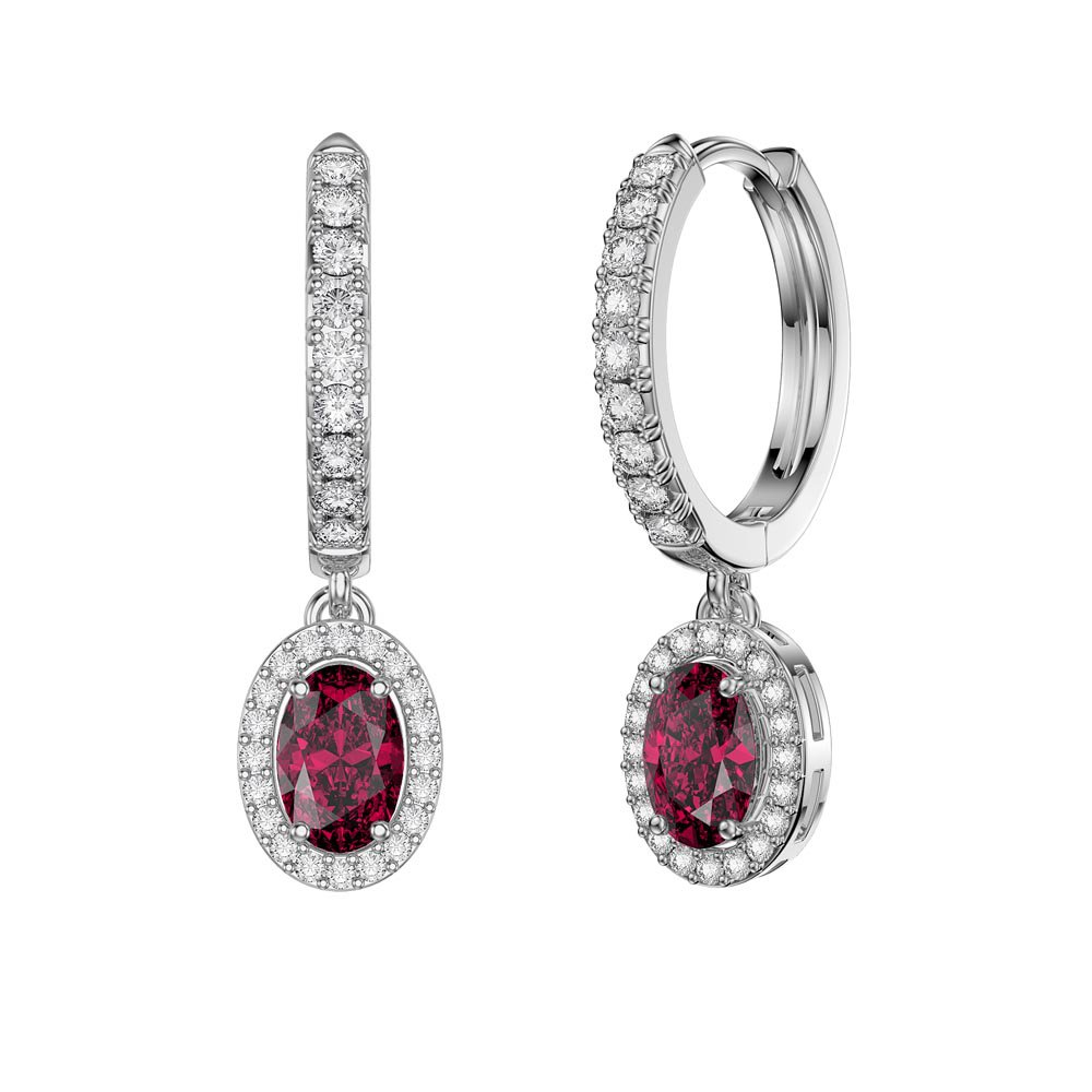 Eternity 1ct Ruby Oval Halo Drop Hoop Earrings in Platinum plated Silver