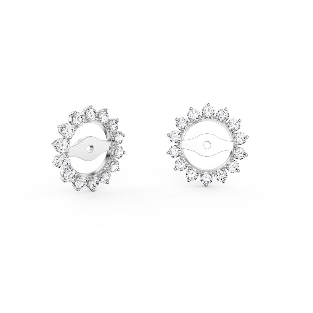 Fusion Diamond 18ct White Gold Earring Starburst Halo Jackets