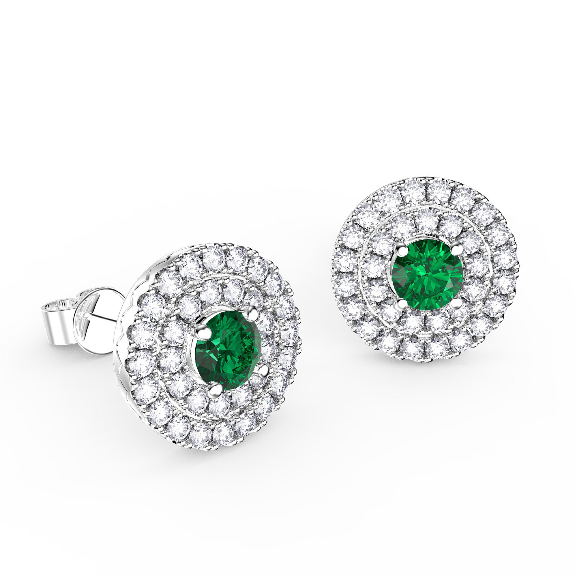 Fusion Emerald Halo Platinum plated Silver Stud Earrings