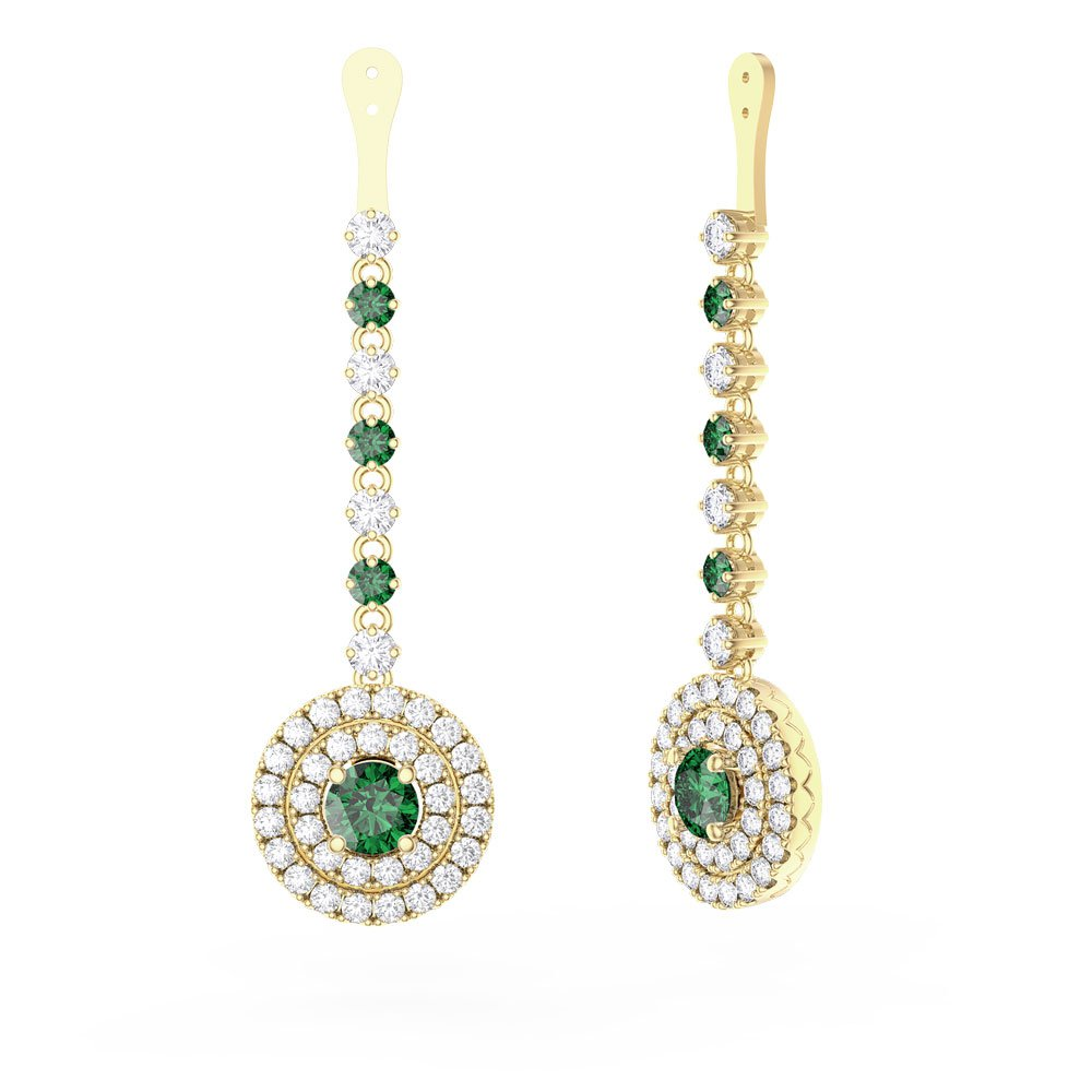Fusion Emerald Halo 18ct Yellow Goldl Earrings Drops