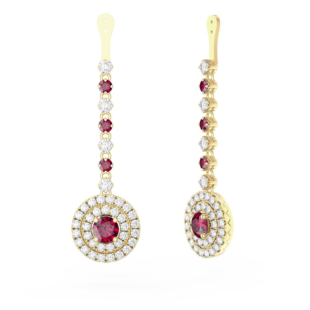 Fusion Ruby Halo 18ct Yellow Gold Earrings Drops