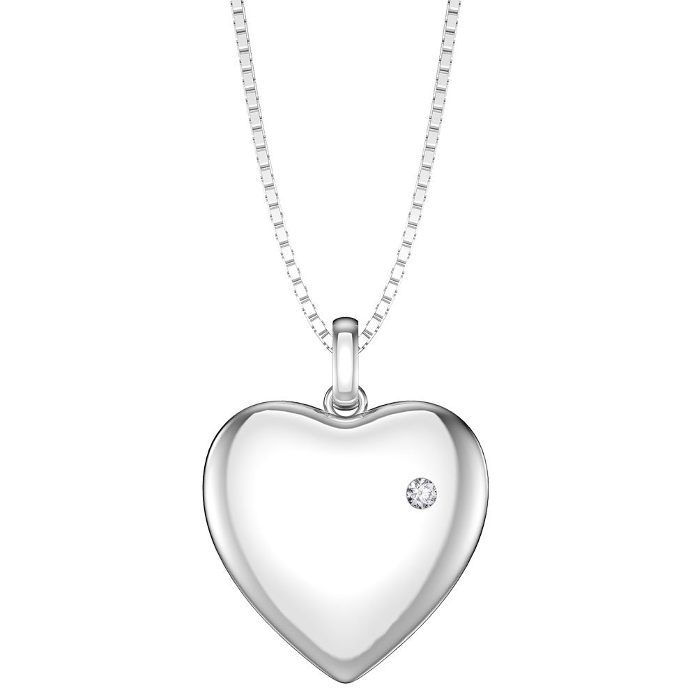 Charmisma Moissanite Platinum plated Silver Heart Locket