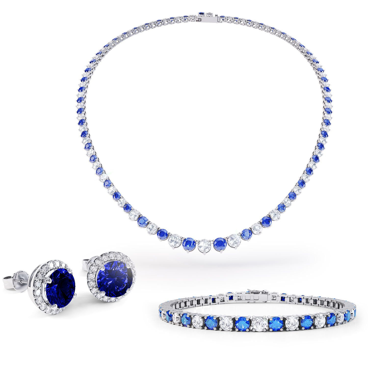 Eternity Sapphire CZ Rhodium plated Silver Jewellery Set