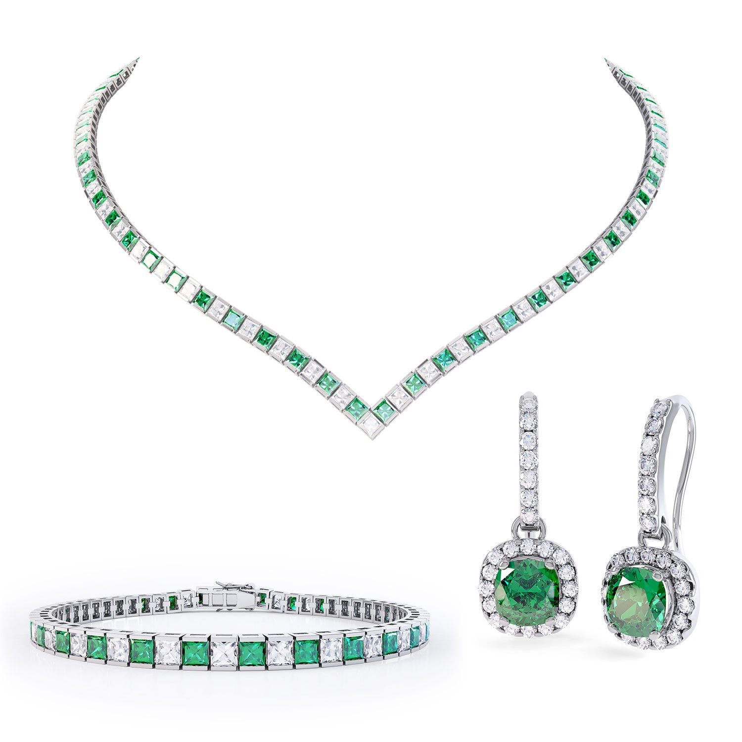 Princess Emerald CZ Rhodium plated Silver Jewellery Set
