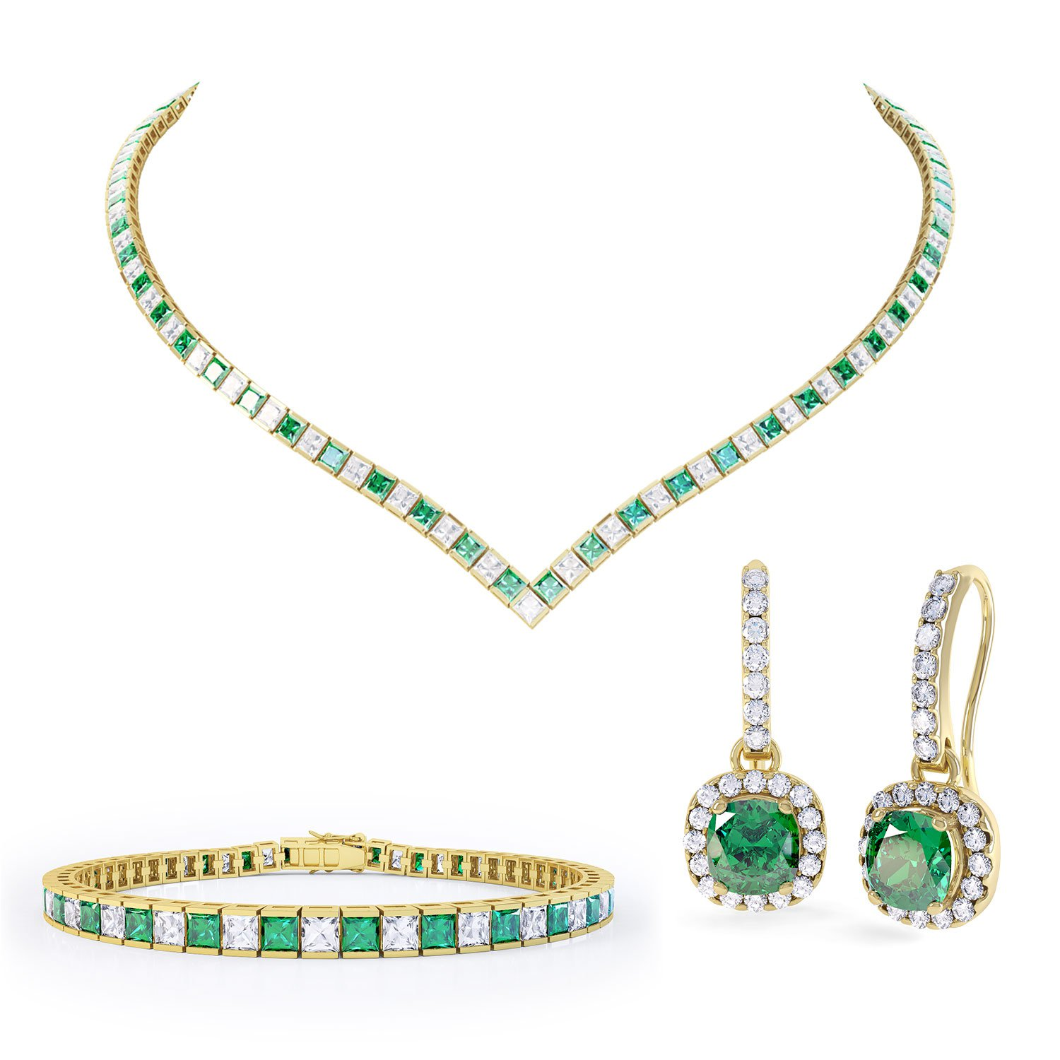 Princess Emerald 18ct Gold Vermeil Jewellery Set
