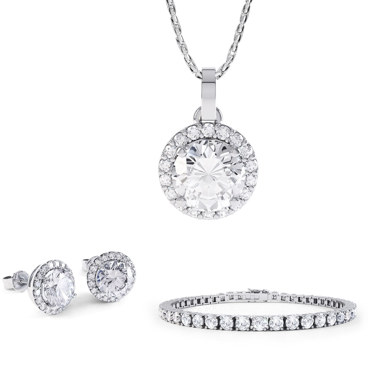 Eternity White Sapphire Platinum plated Silver Jewellery Set with Pendant