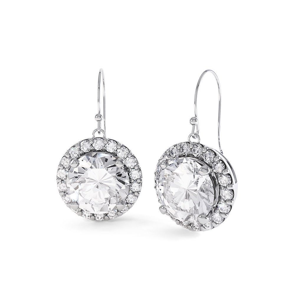 Eternity 2ct Moissanite Halo 18ct White Gold Drop Earrings