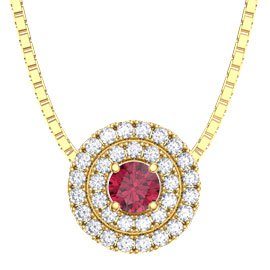 Fusion Ruby Halo 18ct Gold Vermeil Pendant