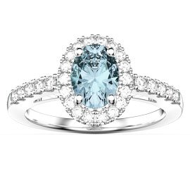 Eternity Aquamarine Oval Halo Platinum plated Silver Promise Ring