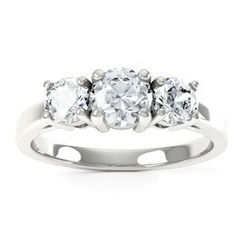 Eternity Three Stone White Sapphire Platinum plated Silver Promise Ring