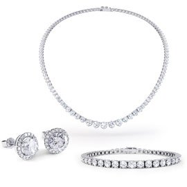 Eternity Diamond CZ Rhodium plated Silver Jewellery Set