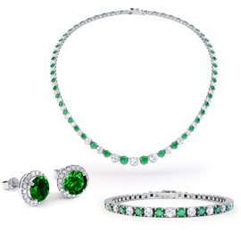 Eternity Emerald CZ Rhodium plated Silver Jewellery Set