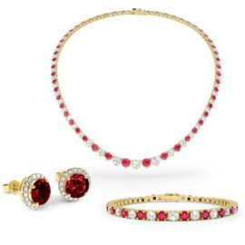 Eternity Ruby CZ 18ct Gold plated Silver Jewellery Set
